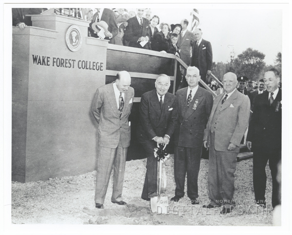 President Harry Truman at Wake Forest College groundbreaking