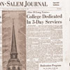 Winston-Salem Journal front page describing Wake Forest Reynolda campus dedication