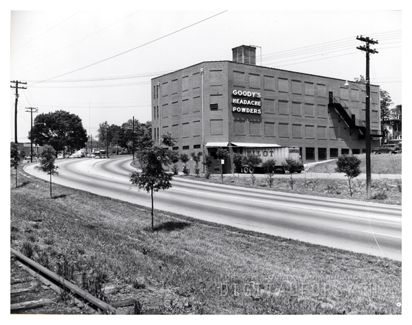 View of the Salem Bypass and Goody's Headache Powders building