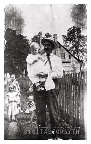 Unidentified Man and Children in Bethabara