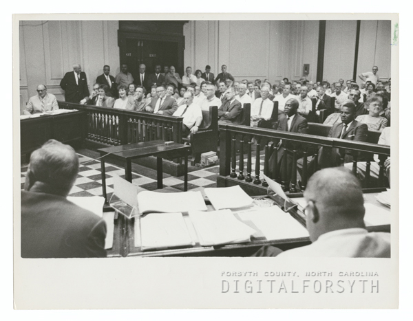 Meeting in the Forsyth County Courthouse, 1962.