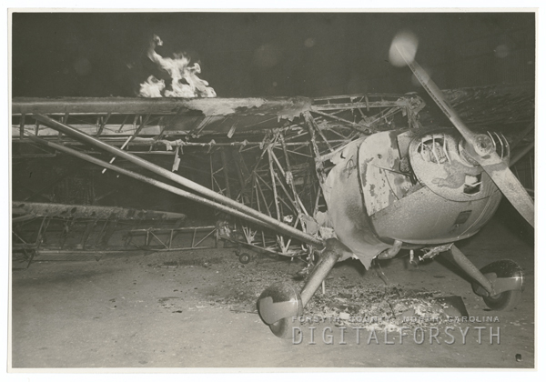 Fire at the Piedmont Aviation hangar, 1941.