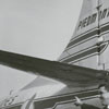 R. E. Bullard, Mrs. Howard Dickey and Don Britt in front of Piedmont airplane, in connection with March of Dimes airlift, 1962.