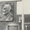 James G. Hanes Community Center plaque and building, 1958.