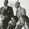 Visit to Old Salem by John D. Rockefeller III and group assembled for the dedication of the James G. Hanes Community Center, 1958.