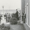 Laying the cornerstone ceremony for the United Fund office at the James G. Hanes Community Center, 1958.