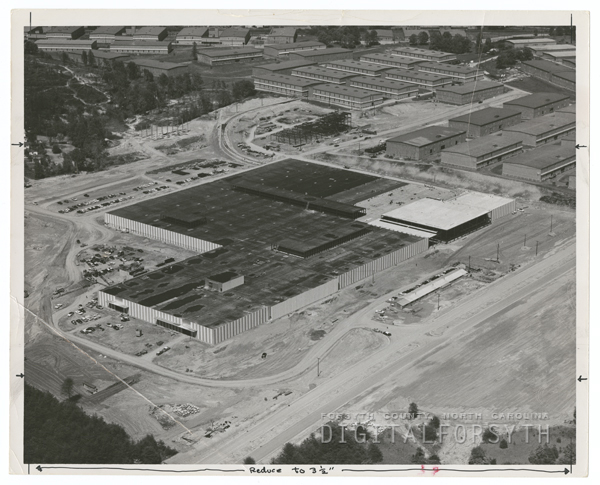 Aerial view of the Whitaker Park cigarette factory under construction, 1960.