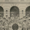 The Clyde Bolling Post American Legion band in front of the Post Office.