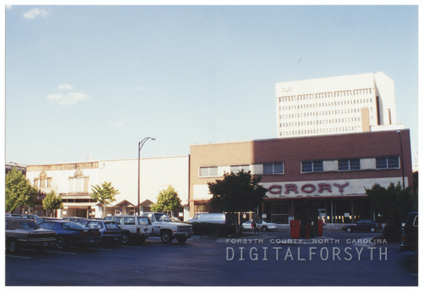 Block of buildings on Liberty, Fifth and Trade Streets demolished for the transit center, 1995.