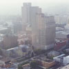 Aerial of downtown looking northwest, from the new Wachovia Center, 1996.