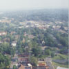 Aerial looking south on Main Street, at Interstate 40, toward Old Salem and Washington Park, 1996.