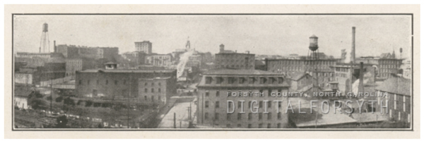 Aerial of East Fourth Street, looking west near Chestnut Street, 1918.