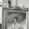 Artist Joe King with his painting of Mary Reynolds Babcock, 1962.