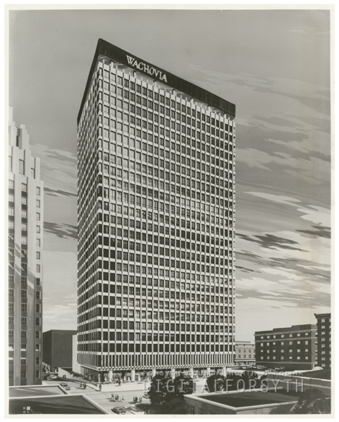 Architectural rendering for the new Wachovia Bank Building at 301 North Main Street, 1962.
