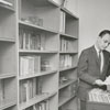 Donald McCorkle in the music vault at the Moravian Music Foundation, 1961.
