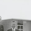 William C. Thacker and W. Reid Staton in front of Farmers Cooperative Dairy on North Cherry Street, 1961.