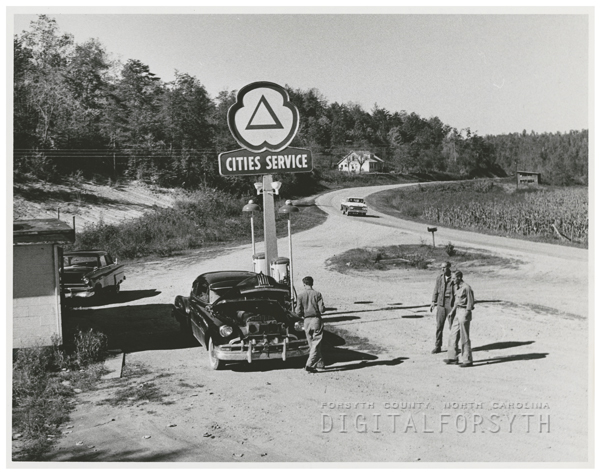 Service station that will be under water after the construction of the proposed Yadkin River Dam, 1960.