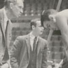"Wake Forest basketball coach, Horace ""Bones"" McKinney and player Dave Budd, 1959."