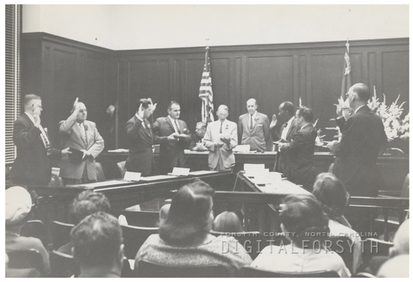 Swearing in ceremony for the Board of Aldermen, 1959.