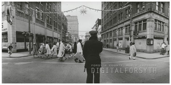 View of West Fourth Street looking west from the Liberty Street intersection, 1962.