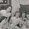 Photo to accompany a feature article about teenagers and telephones, 1954.