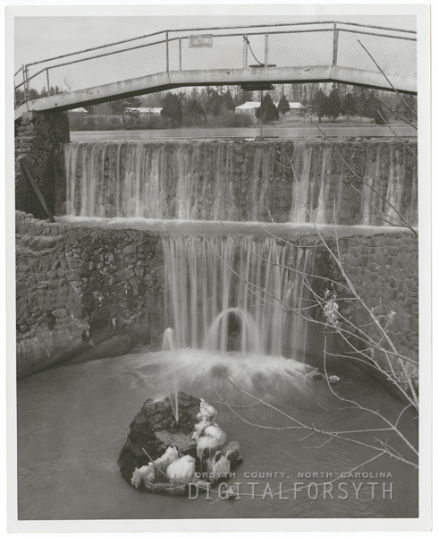 Waterfall at Lasater Mill in Clemmons, 1961.