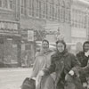Women crossing Cherry Street at West Fourth Street in the snow, 1958.