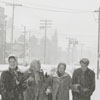 People walking in the snow on Marshall Street, near the Winston-Salem Journal office, 1958.
