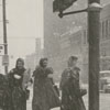 Women crossing West Fourth Street at Cherry Street in the snow, 1958.