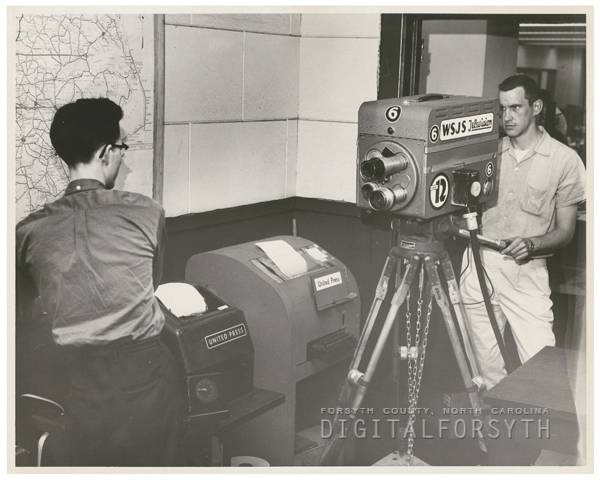 Bobby Isaacs, filmed by WSJS Television, in the Winston-Salem Journal newsroom, 1958.