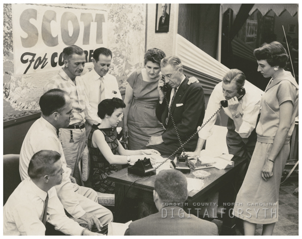 Ralph Scott headquarters for his congressional renomination, 1958.