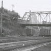 Train yards, with the Belews Street trestle in the center, 1958.