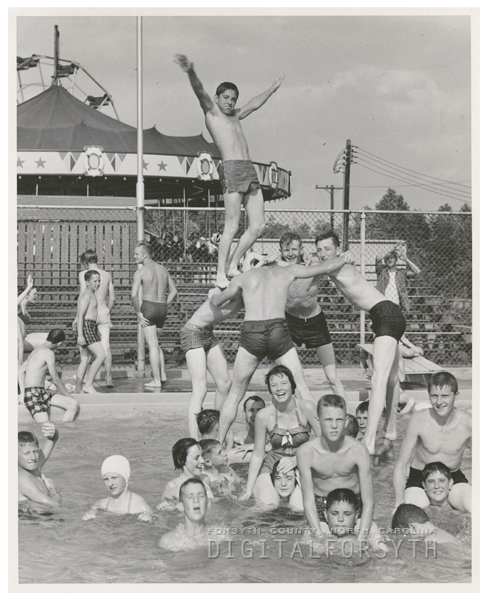 Swimming at Reynolds Park pool, 1958.