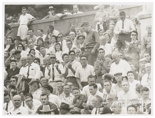 Spectators at a Wake Forest College vs Maryland football game, 1958.