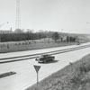 Entrance ramp to Interstate 40 from Stratford Road, with Thruway Shopping Center in the distance, 1958.