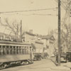 Streetcar heading down South Main Street at the Academy Street intersection.