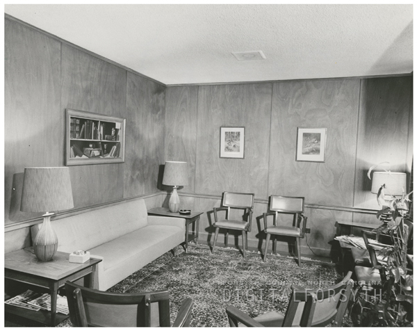 Dr. George Holmes' office in the Professional Building, 1957.