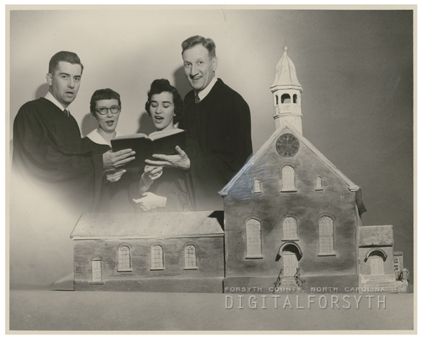 Group practicing for the Candle Tea at Home Moravian Church, 1957.
