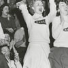 Mount Airy High School cheerleaders at a basketball game against Griffith High School, 1956.