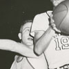 Mount Airy High School playing Griffith High School in basketball, 1956.