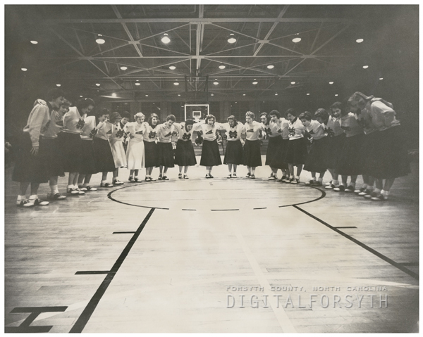 Mount Airy High School and Mineral Springs High School cheerleaders, 1956.