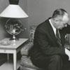 Douglas Boyle with a television set, 1955.