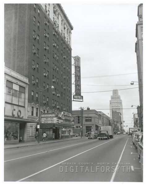 West Fourth Street at the Carolina Hotel and Theatre, 1961.