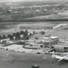 Aerial view of Smith Reynolds Airport and terminal building, 1959.