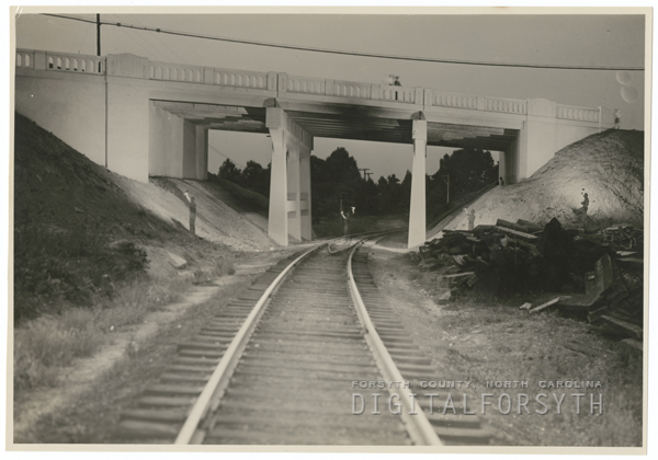 Bridge at the overpass on First Street, 1939.