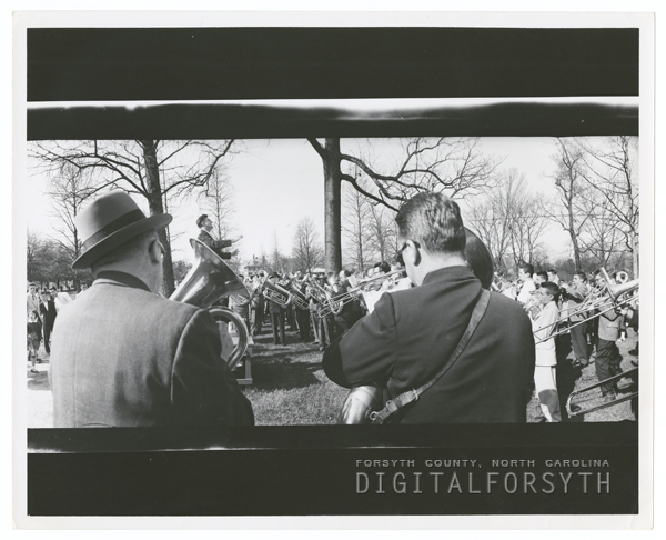 Band practice for the Easter Sunrise Service in God's Acre in Salem, 1957.