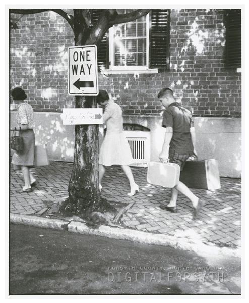 Students arriving for Governor's School at Salem College, 1965.