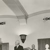 Unveiling of bust of Richard J. Reynolds Jr. and portrait of Dr. Harold Tribble, 1959.