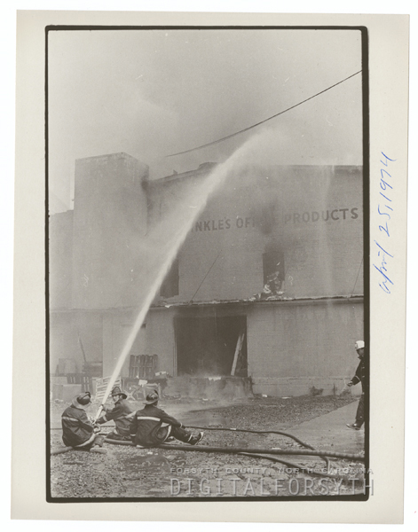 Hinkle's Office Products Warehouse fire, 1974.