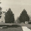 Clemmons Moravian Church and the graveyard, God's Acre, 1940.